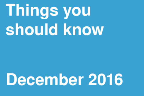 Things You Should Know – December 2016